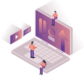 Ludzie i wykresy z laptopa projekt ilustracji wektorowych