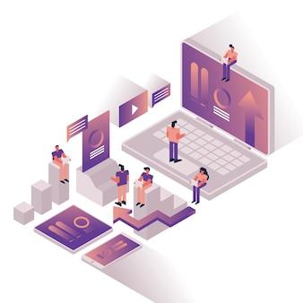 Ludzie i wykresy z projektowaniem ilustracji wektorowych urządzenia laptopa