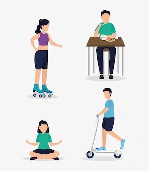 Ludzie i zdrowego stylu życia koncepcja wektor wzór
