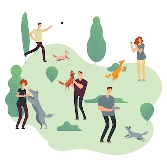 Ludzie i zwierzęta domowe. ilustracja wolontariuszy z bezdomnymi psami