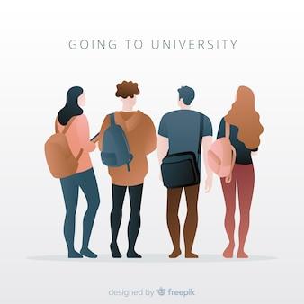 Ludzie idący do paczki uniwersyteckiej