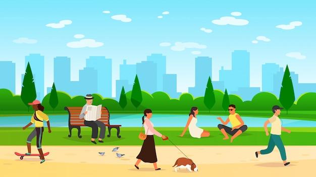 Ludzie idący do parku. kobiety mężczyźni aktywność na świeżym powietrzu sport grupa prowadzenie społeczności zabawa spacer natura kreskówka styl życia