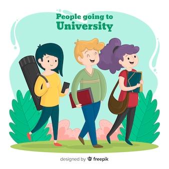 Ludzie idący na tło uniwersyteckie