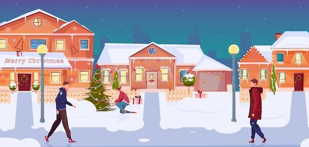 Ludzie Idący Ulicą Z Płaskimi Domami Ozdobionymi Bożonarodzeniowymi Lampkami Darmowych Wektorów