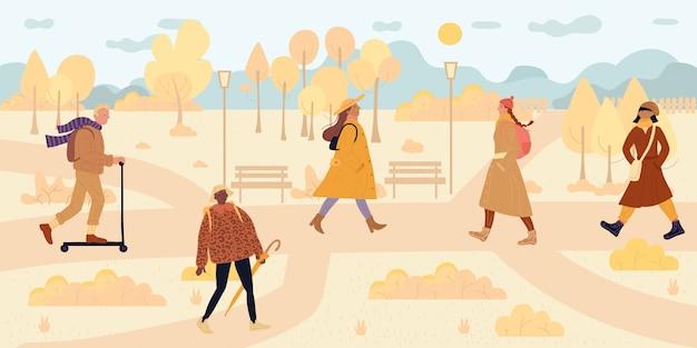 Ludzie idący wzdłuż parku jesień sezon jesienny