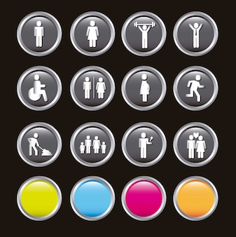 Ludzie ikon na czarnym tle ilustracji wektorowych
