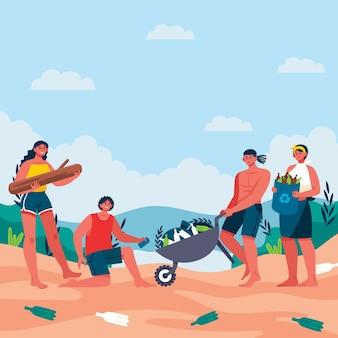 Ludzie ilustracja koncepcja rolnictwa ekologicznego