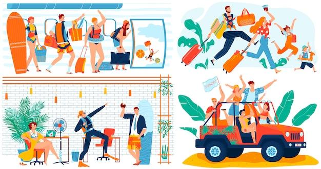 Ludzie iść na wakacje wycieczce, śmieszny pojęcie, postać z kreskówki podróżują, ilustracja.