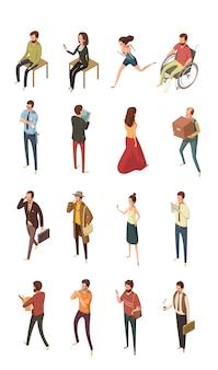 Ludzie isometric ikon ustawiają odosobnioną wektorową ilustrację