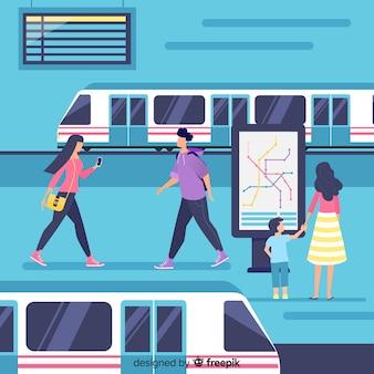 Ludzie jadący metrem