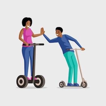 Ludzie jadący skutery płaskie ilustracji. rozrywka, aktywny wypoczynek, wypoczynek razem. uśmiechnięty mężczyzna i kobieta na hulajnoga postać z kreskówki odizolowywającymi na bielu
