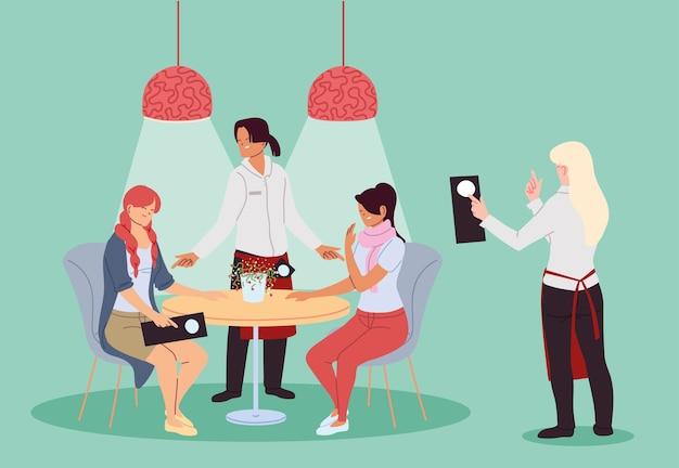 Ludzie jadący w ekskluzywnej luksusowej restauracji na świeżym powietrzu i kelnerzy wykonujący projekt ilustracji zamówienia
