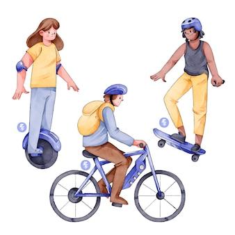 Ludzie jazdy koncepcja transportu elektrycznego