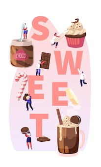 Ludzie jedzą słodkie potrawy