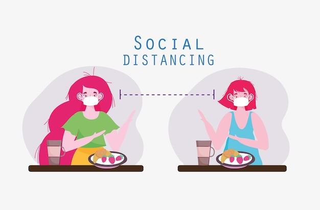 Ludzie jedzący dystans społeczny