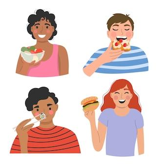 Ludzie jedzący pyszne jedzenie