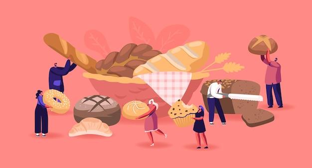 Ludzie jedzenie i gotowanie koncepcja piekarni. płaskie ilustracja kreskówka