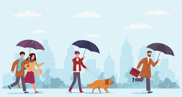 Ludzie jesienny deszcz. kobiety i mężczyźni z parasolem spaceru w deszczowy wietrzny dzień na ulicy, chłopiec spacerujący z psem i biznesmenem biegać po kałużach na jesień pejzaż sezonowy wektor płaski koncepcja kreskówka