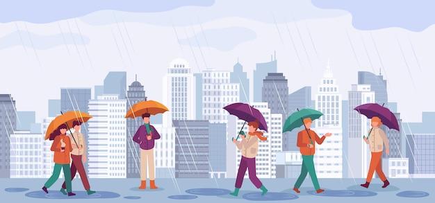 Ludzie jesienny deszcz. mężczyźni i kobiety chodzą lub stoją w deszczu z parasolami w krajobrazach miasta, deszczowy dzień jesień sezon wektor koncepcja. miasto jesienny deszcz, ludzie trzymają parasolową ilustrację