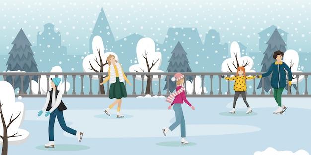 Ludzie jeżdżą na łyżwach zimą. zimowa rozrywka. płaska ilustracja.