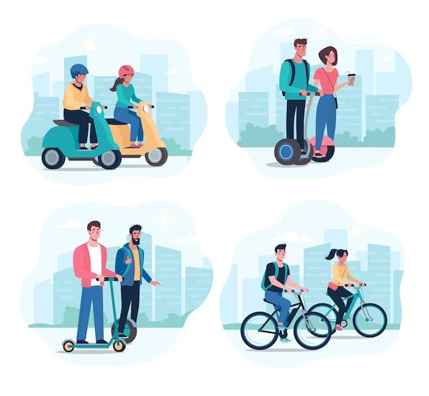 Ludzie jeżdżą na nowoczesnych elektrycznych deskorolkach żyroskopowych, skuterach, rowerach, motorowerach