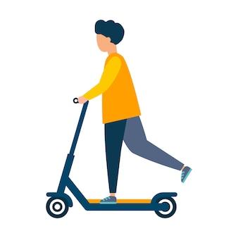 Ludzie jeżdżą na skuterach. nowoczesna ilustracja. płaski wektor. na białym tle.
