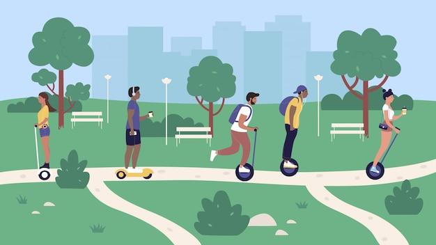 Ludzie jeżdżący ekologicznym transportem w parku miejskim, kreskówka kobieta mężczyzna jeździec hipster postacie jeżdżą nowoczesną elektryczną segwayem, żyroskopem lub hoverboardem