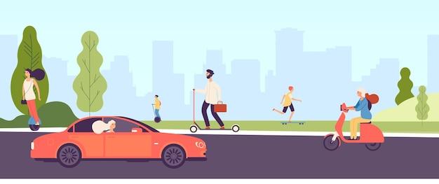 Ludzie jeżdżący. ludzie z pojazdami elektrycznymi, motocyklami, deskorolkami i skuterami.