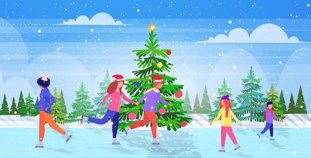 Ludzie jeżdżący na łyżwach na zamarzniętym jeziorze lodowisko sporty zimowe rekreacja na wakacjach