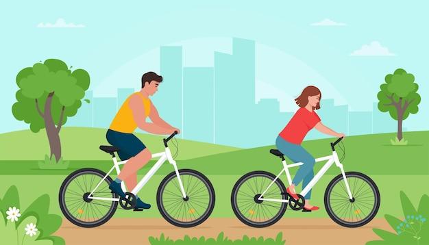 Ludzie jeżdżący na rowerach w parku wiosną lub latem. mężczyzna i kobieta, odpoczynek, uprawianie sportu. ilustracja w stylu płaski