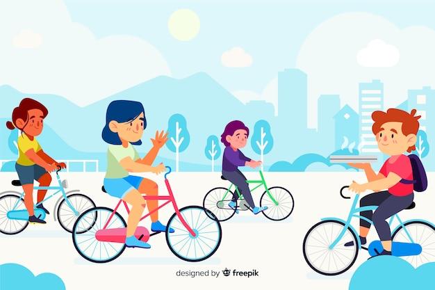 Ludzie jeżdżący na rowerach w parku