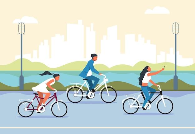 Ludzie jeżdżący na rowerze. aktywne postacie z kreskówek w parku miejskim, jazda na rowerze, koncepcja aktywnego i zdrowego stylu życia