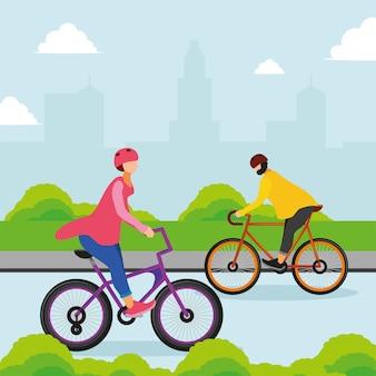 Ludzie jeżdżący na rowerze