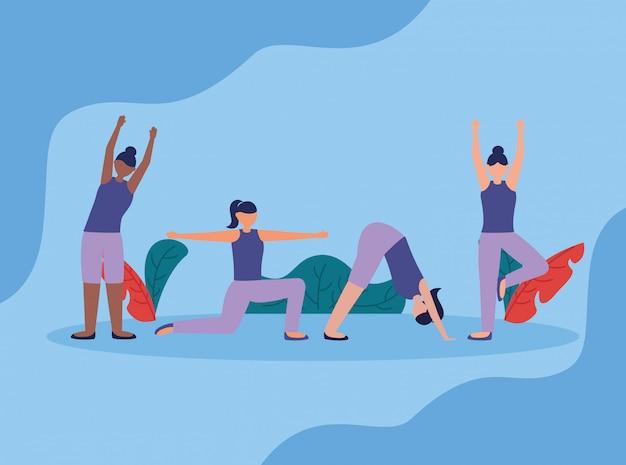 Ludzie jogi na świeżym powietrzu w stylu płaski