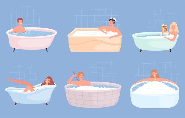 Ludzie kąpią się. szczęśliwe osoby płci męskiej i żeńskiej mycie ciała i relaks w wannie wektor znaków. ilustracja osoby myjącej w wannie