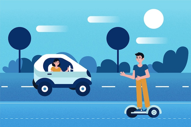 Ludzie kierujący transportem elektrycznym