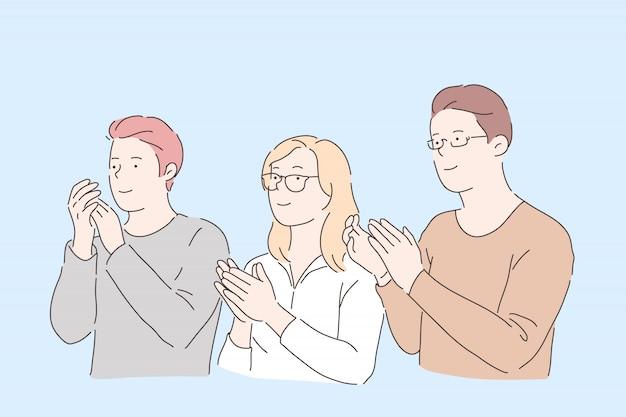 Ludzie klaszczą w dłonie. młodzi przyjaciele płci męskiej i żeńskiej, pracownicy biurowi brawo, uznanie społeczne, koledzy, partnerzy, wsparcie i gest gratulacyjny. proste mieszkanie