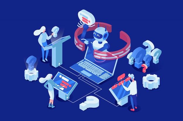 Ludzie, klienci rozmawiający z chatbotem 3d postaciami z kreskówek.