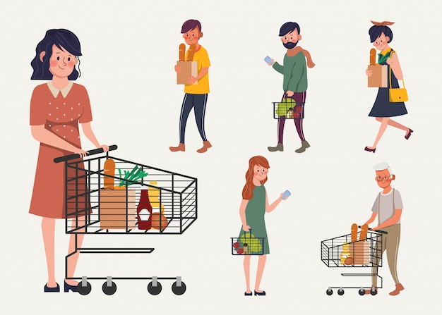 Ludzie klientów w supermarkecie dom towarowy.