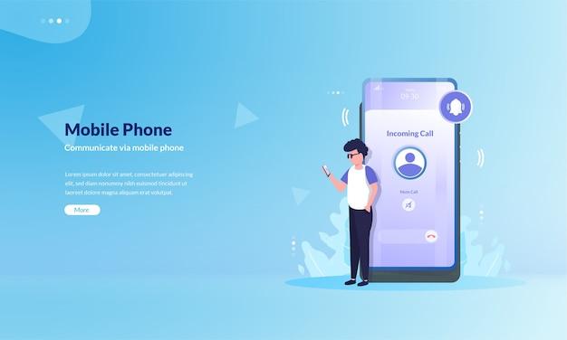 Ludzie komunikują się przez telefony komórkowe na temat koncepcji ilustracji