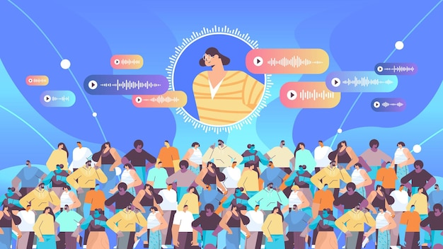 Ludzie komunikują się w komunikatorach za pomocą wiadomości głosowych aplikacja czatu audio media społecznościowe koncepcja komunikacji online pozioma ilustracja wektorowa
