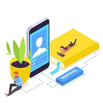 Ludzie komunikują się ze znajomymi za pośrednictwem sieci społecznościowych za pomocą smartfonów. uzależnienie od internetu. ilustracja izometryczna