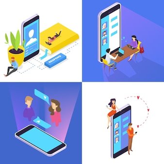 Ludzie komunikują się ze znajomymi za pośrednictwem sieci społecznościowych za pomocą zestawu smartfonów. uzależnienie od internetu. izometryczne ilustracji wektorowych na białym tle