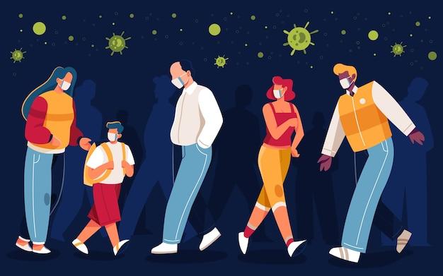 Ludzie koncepcji pandemii noszenie masek