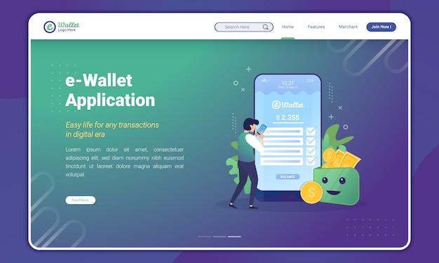 Ludzie korzystają z aplikacji portfela elektronicznego, koncepcji aplikacji portfel cyfrowy na stronie docelowej