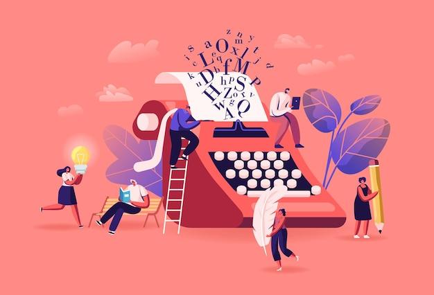 Ludzie korzystający z narracji, czytania literatury poezji lub koncepcji prozy. małe postacie w wielkich piórach i ołówkach na maszynie do czytania lub pisania książek, wierszy, prozy. ilustracja wektorowa kreskówka ludzie