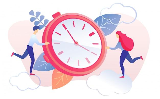 Ludzie kreskówek biegnących do czerwonego zegara, aby zatrzymać zegar