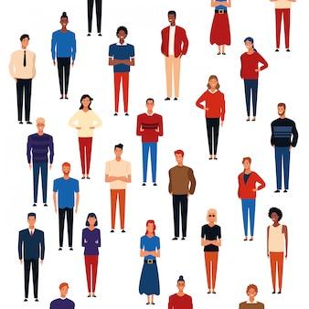 Ludzie kreskówki tło wzór