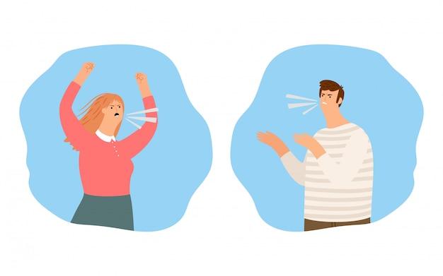 Ludzie krzyczą, kłótnia ilustracja. krzyczący chłopiec i dziewczynka, gniewni ludzie