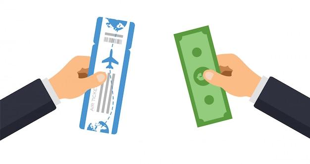 Ludzie kupują bilet lotniczy. ręka daje pieniądze i zabiera podróżną kartę pokładową. ilustracja.